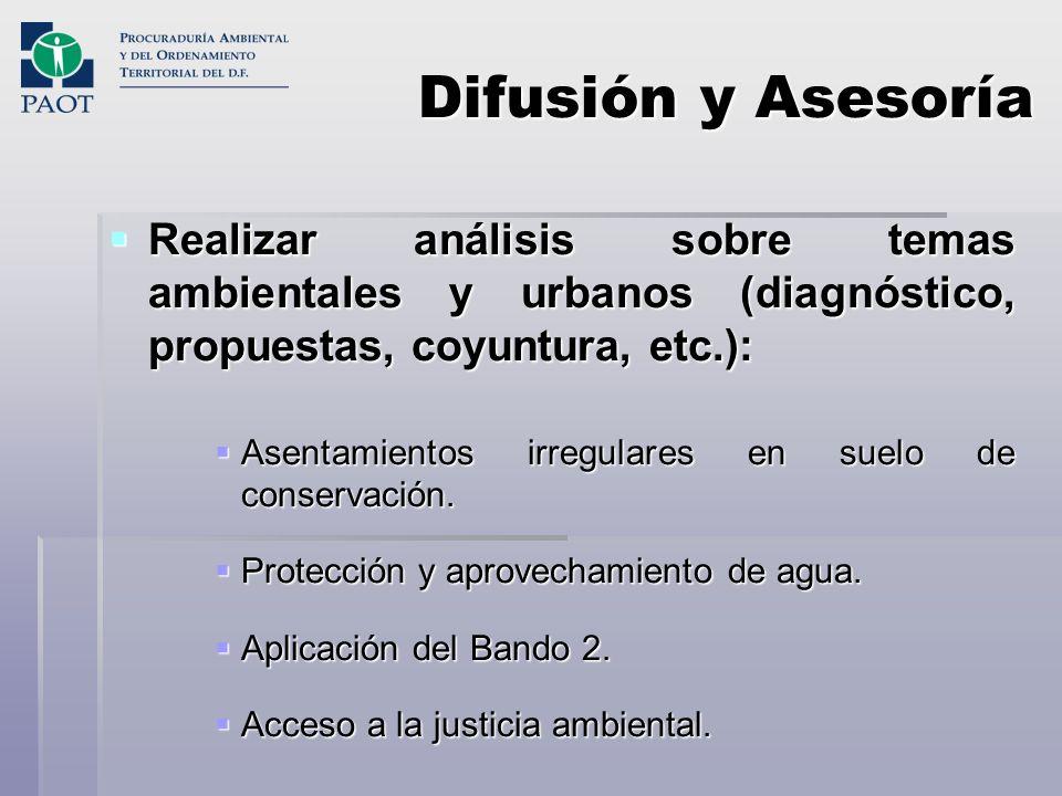 Difusión y Asesoría Realizar análisis sobre temas ambientales y urbanos (diagnóstico, propuestas, coyuntura, etc.):