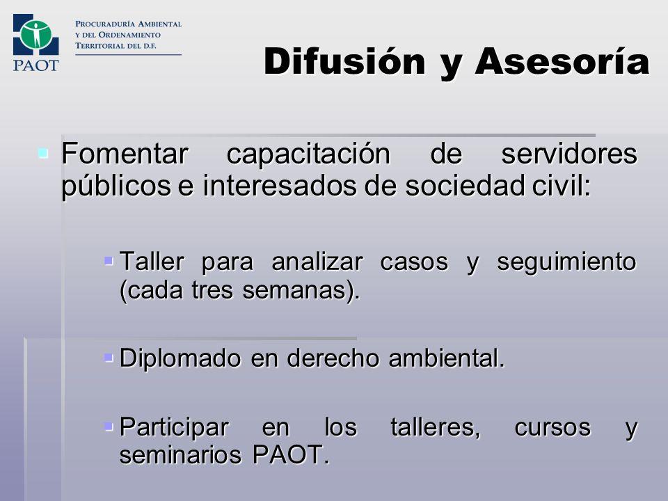 Difusión y AsesoríaFomentar capacitación de servidores públicos e interesados de sociedad civil: