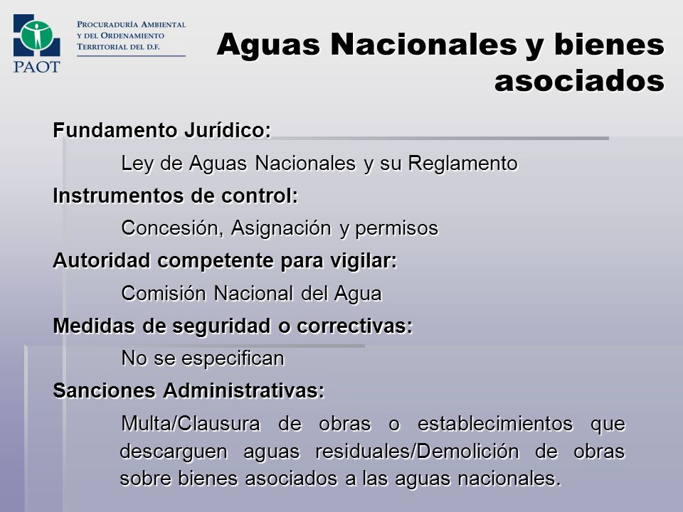 Aguas Nacionales y bienes asociados