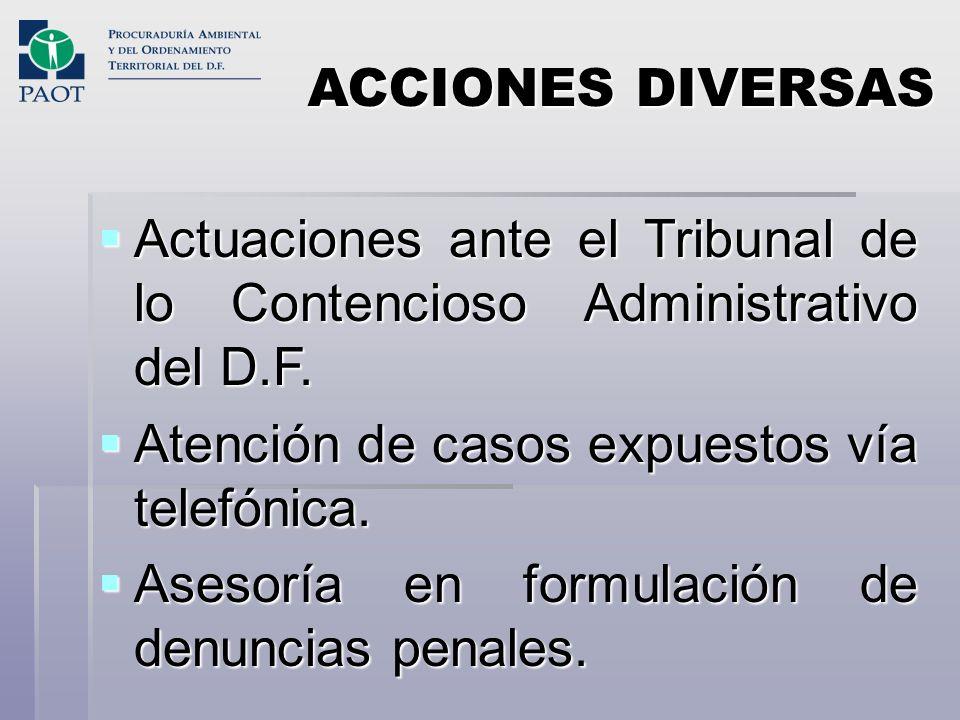 ACCIONES DIVERSASActuaciones ante el Tribunal de lo Contencioso Administrativo del D.F. Atención de casos expuestos vía telefónica.