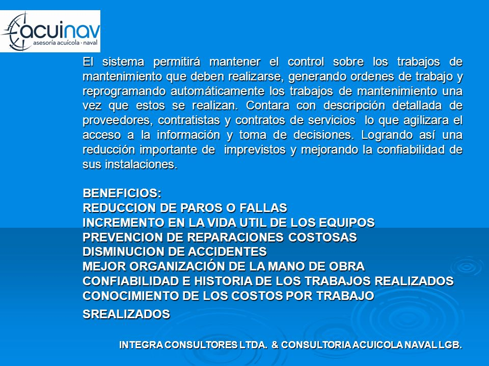 INTEGRA CONSULTORES LTDA. & CONSULTORIA ACUICOLA NAVAL LGB.