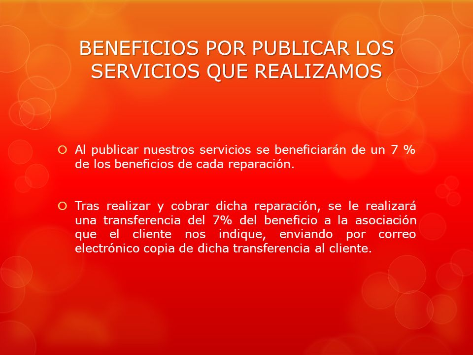 BENEFICIOS POR PUBLICAR LOS SERVICIOS QUE REALIZAMOS