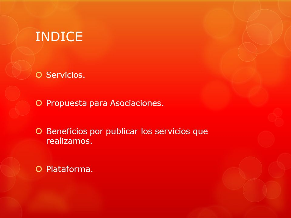 INDICE Servicios. Propuesta para Asociaciones.