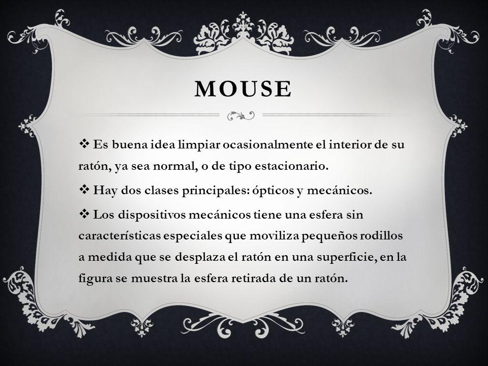 Mouse Es buena idea limpiar ocasionalmente el interior de su ratón, ya sea normal, o de tipo estacionario.
