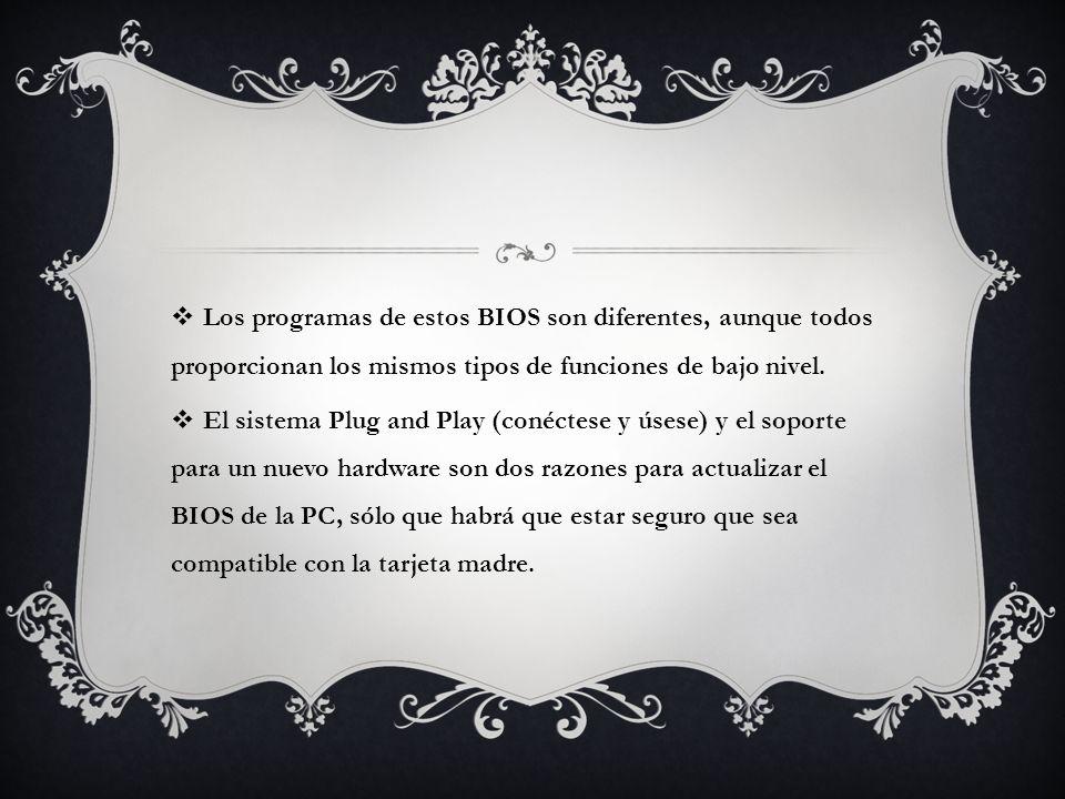 Los programas de estos BIOS son diferentes, aunque todos proporcionan los mismos tipos de funciones de bajo nivel.