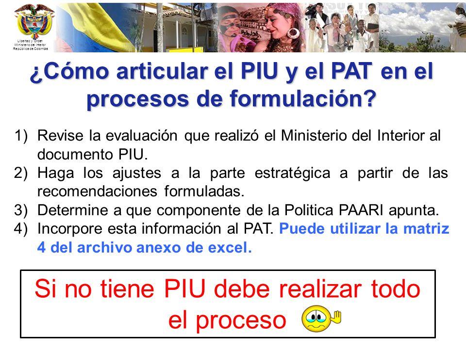 ¿Cómo articular el PIU y el PAT en el procesos de formulación