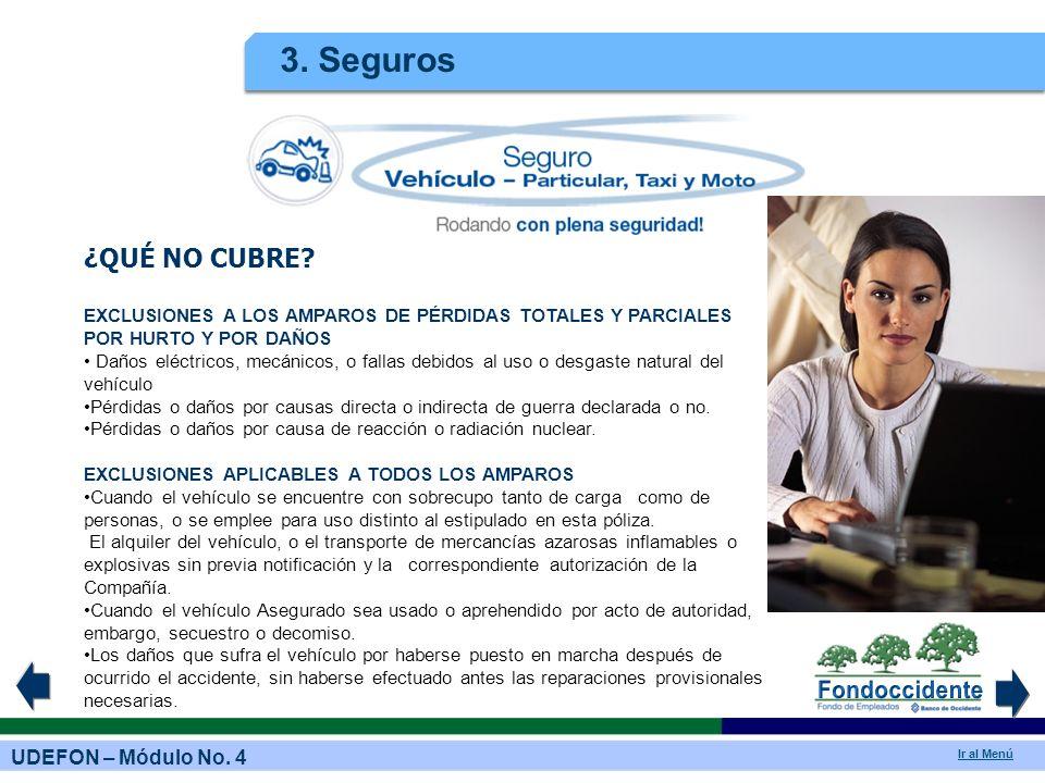 3. Seguros ¿QUÉ NO CUBRE EXCLUSIONES A LOS AMPAROS DE PÉRDIDAS TOTALES Y PARCIALES POR HURTO Y POR DAÑOS.