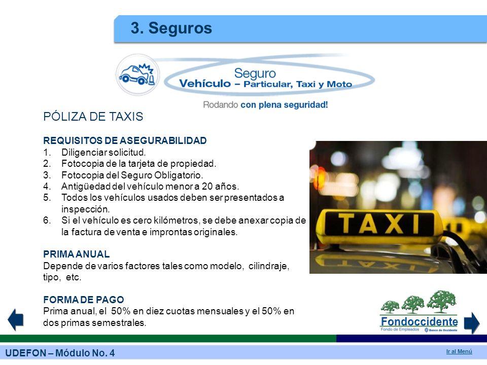 3. Seguros PÓLIZA DE TAXIS REQUISITOS DE ASEGURABILIDAD