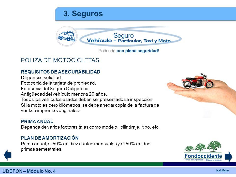 3. Seguros PÓLIZA DE MOTOCICLETAS REQUISITOS DE ASEGURABILIDAD