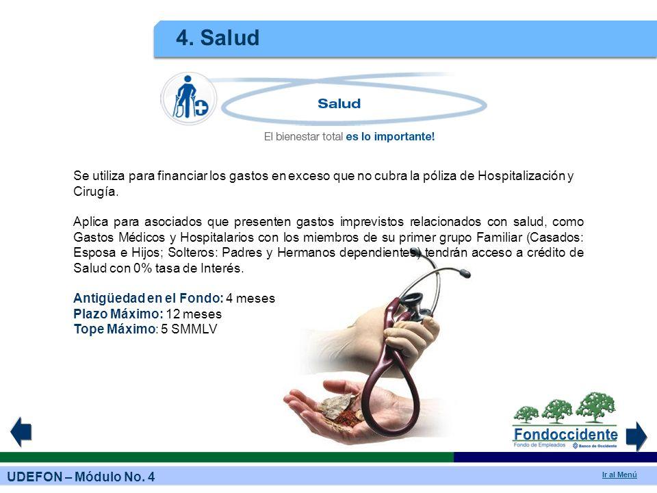 4. Salud Se utiliza para financiar los gastos en exceso que no cubra la póliza de Hospitalización y Cirugía.