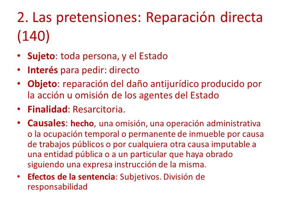 2. Las pretensiones: Reparación directa (140)