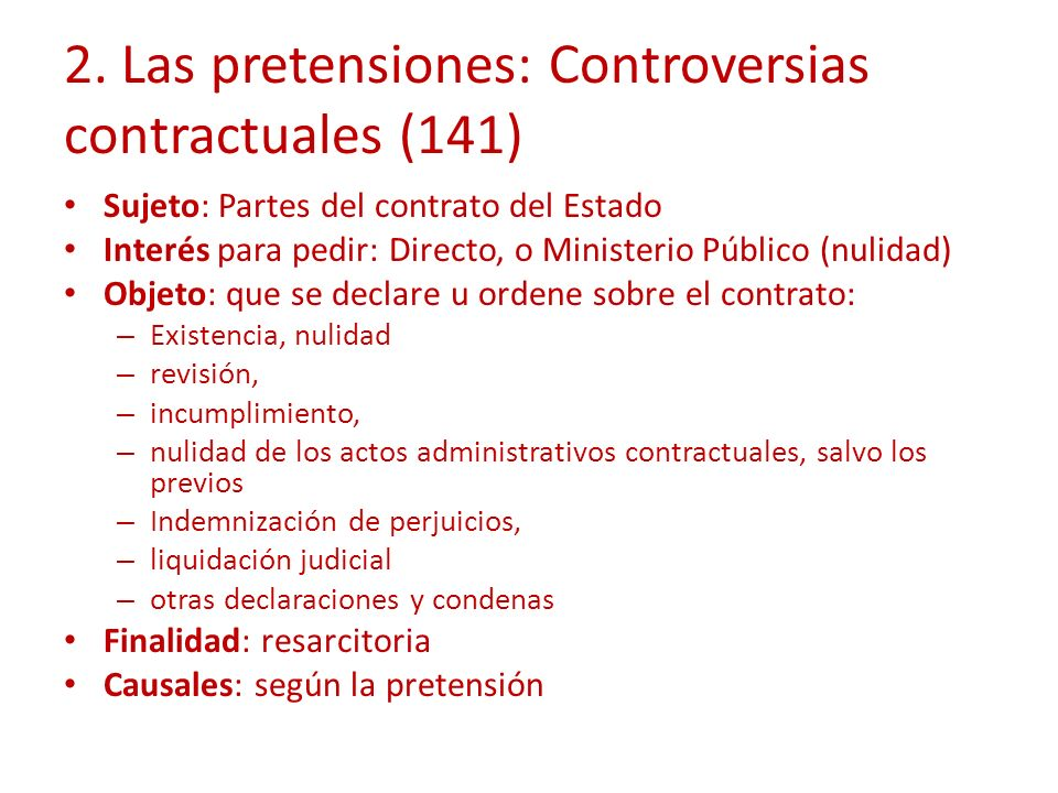 2. Las pretensiones: Controversias contractuales (141)