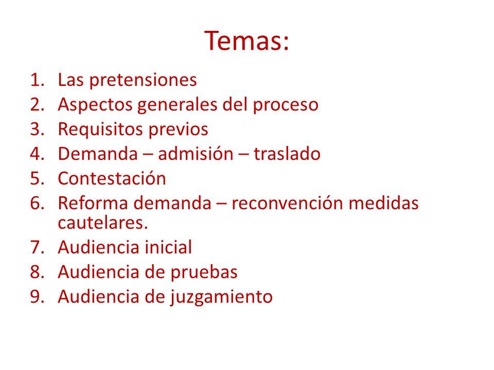 Temas: Las pretensiones Aspectos generales del proceso