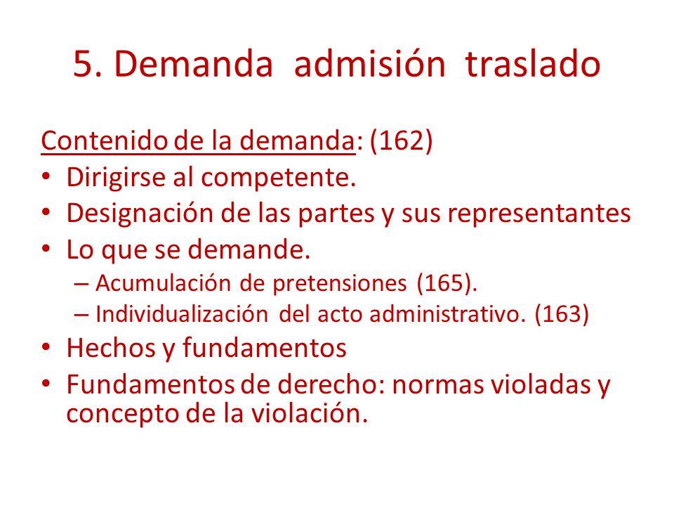 5. Demanda admisión traslado