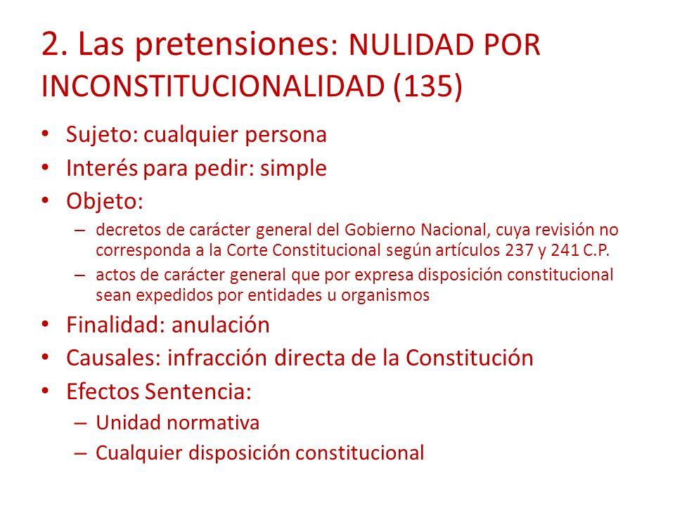 2. Las pretensiones: NULIDAD POR INCONSTITUCIONALIDAD (135)