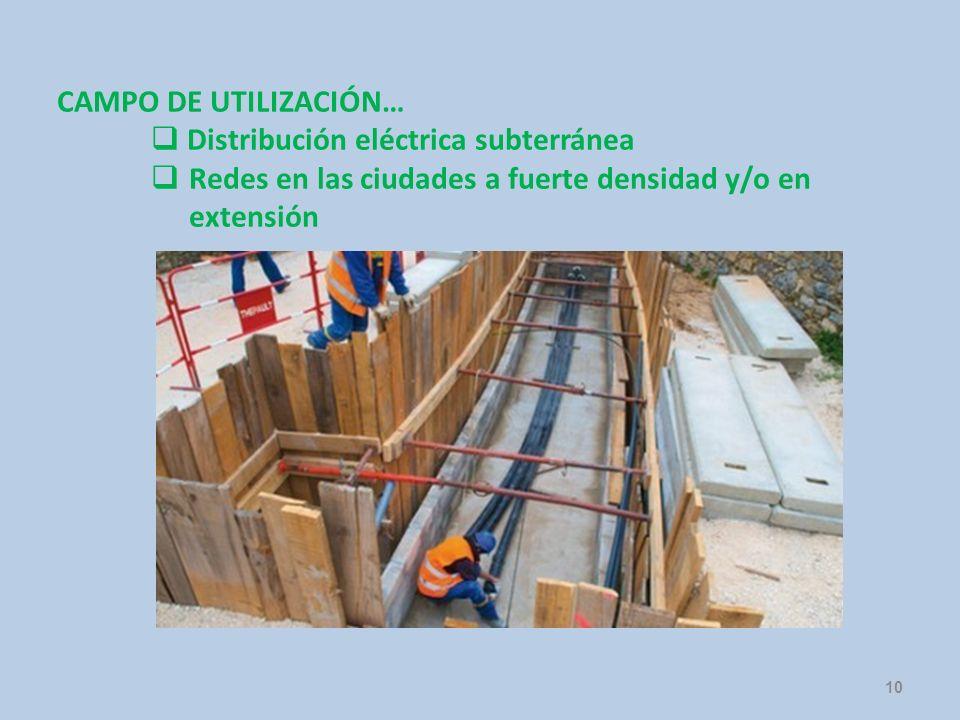 CAMPO DE UTILIZACIÓN… Distribución eléctrica subterránea.