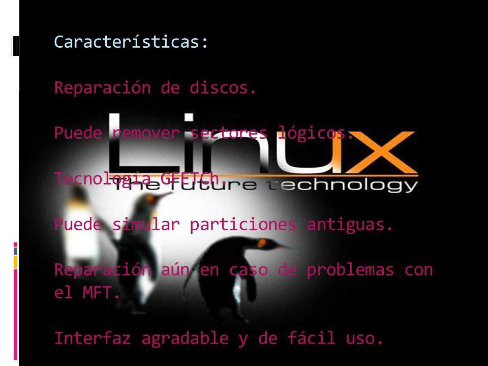 Características: Reparación de discos. Puede remover sectores lógicos