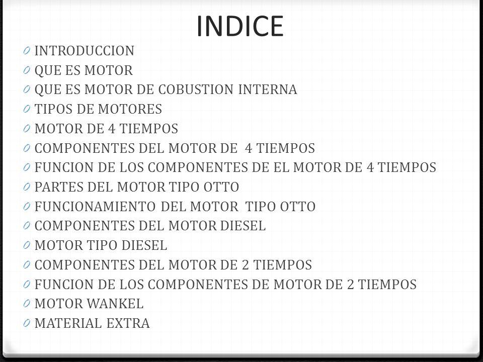 INDICE INTRODUCCION QUE ES MOTOR QUE ES MOTOR DE COBUSTION INTERNA