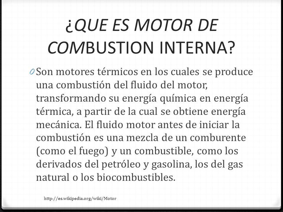 ¿QUE ES MOTOR DE COMBUSTION INTERNA