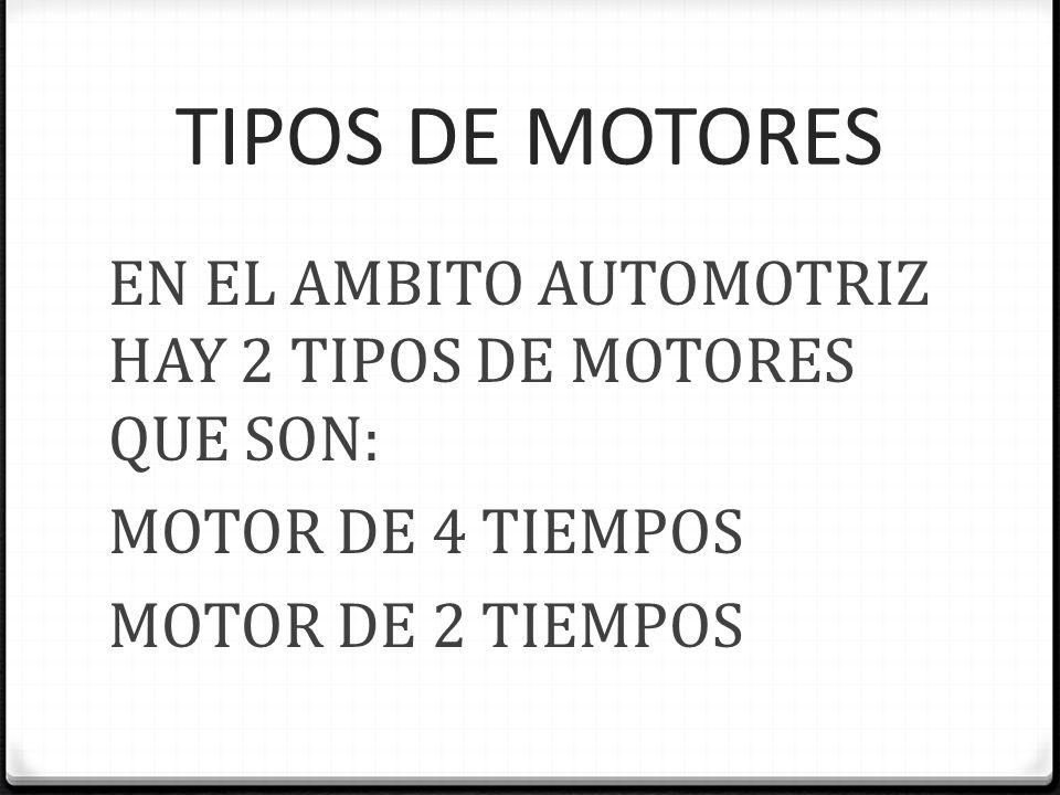 TIPOS DE MOTORES EN EL AMBITO AUTOMOTRIZ HAY 2 TIPOS DE MOTORES QUE SON: MOTOR DE 4 TIEMPOS MOTOR DE 2 TIEMPOS