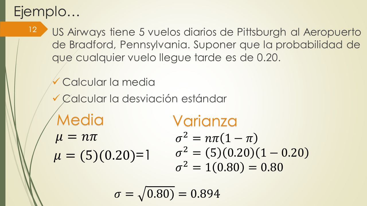 Media Varianza Ejemplo… 𝜇=𝑛𝜋 𝜇=(5)(0.20)=1 𝜎 2 =𝑛𝜋 1−𝜋