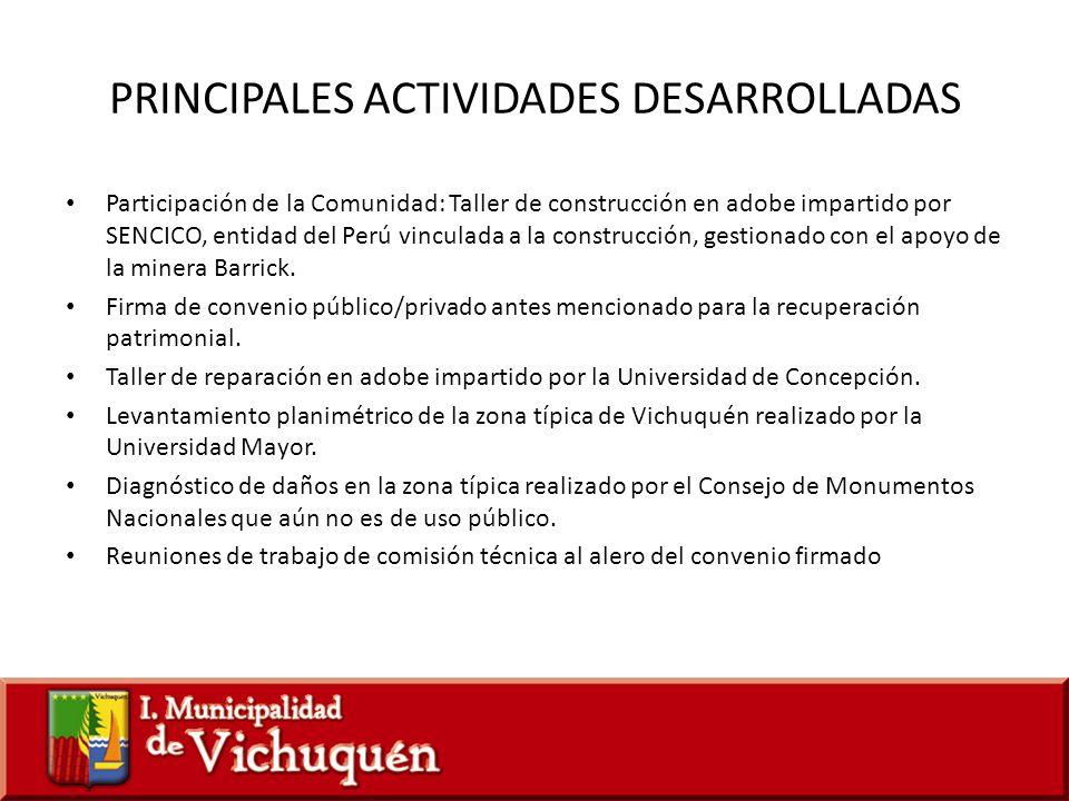 PRINCIPALES ACTIVIDADES DESARROLLADAS