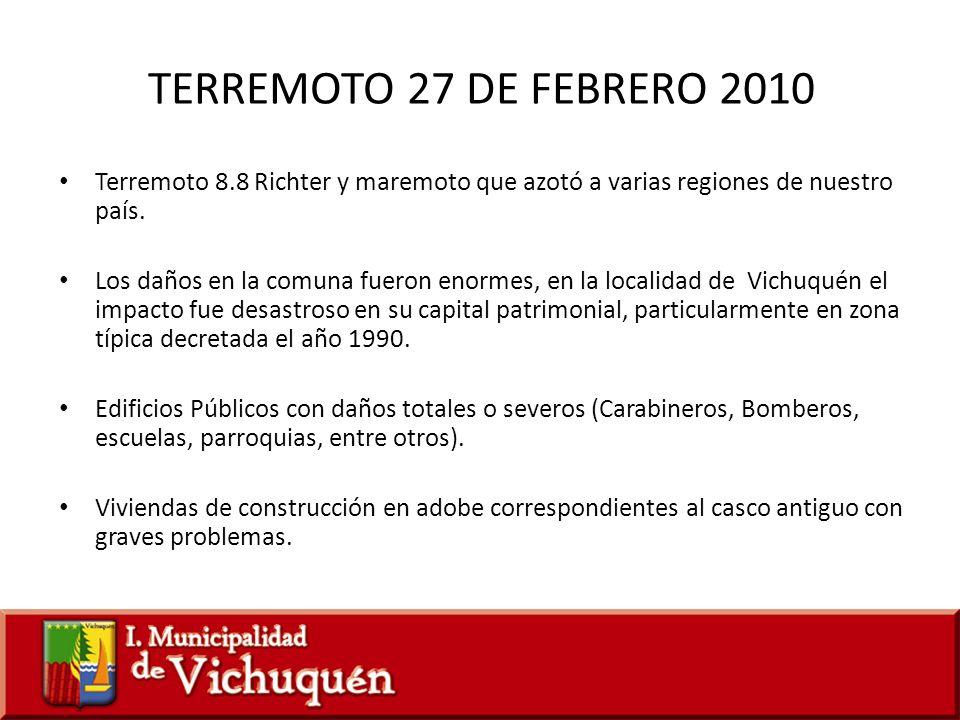 TERREMOTO 27 DE FEBRERO 2010 Terremoto 8.8 Richter y maremoto que azotó a varias regiones de nuestro país.