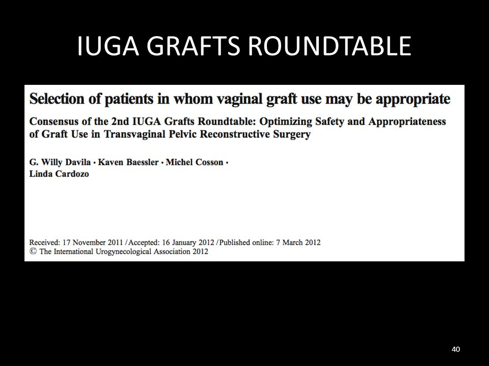 IUGA GRAFTS ROUNDTABLE