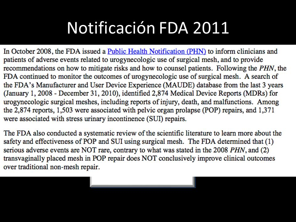 Notificación FDA 2011