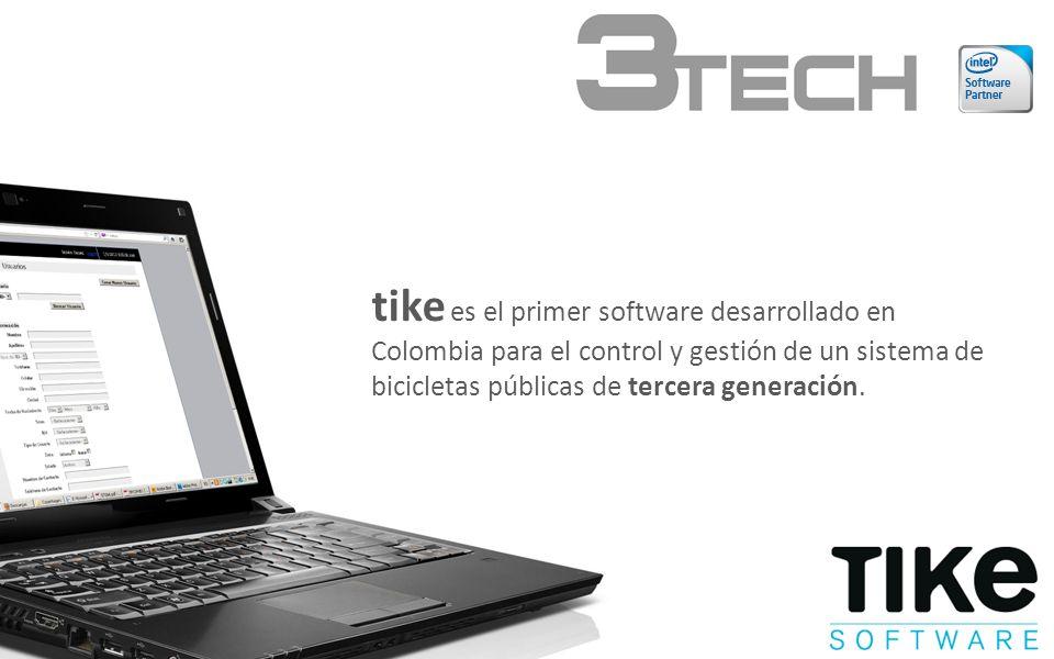 tike es el primer software desarrollado en Colombia para el control y gestión de un sistema de bicicletas públicas de tercera generación.