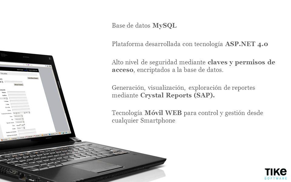 Base de datos MySQL Plataforma desarrollada con tecnología ASP.NET 4.0.