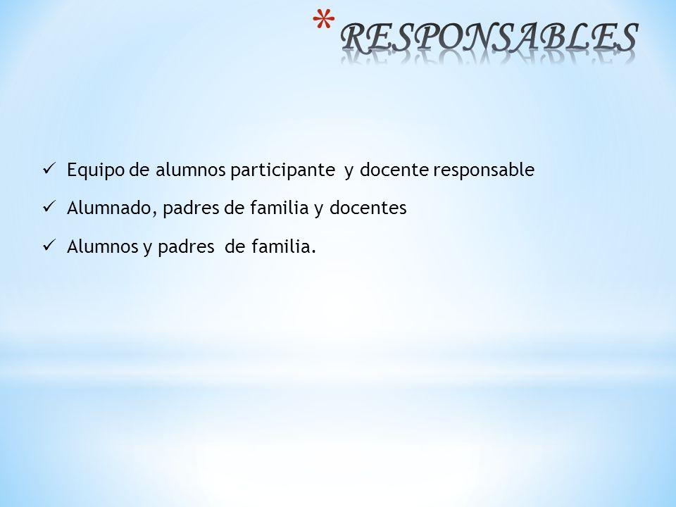 RESPONSABLES Equipo de alumnos participante y docente responsable