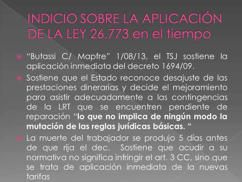 INDICIO SOBRE LA APLICACIÓN DE LA LEY 26.773 en el tiempo