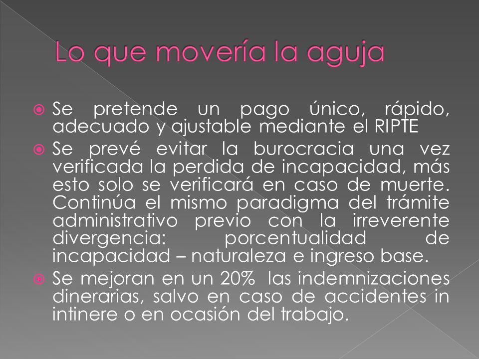 Lo que movería la aguja Se pretende un pago único, rápido, adecuado y ajustable mediante el RIPTE.
