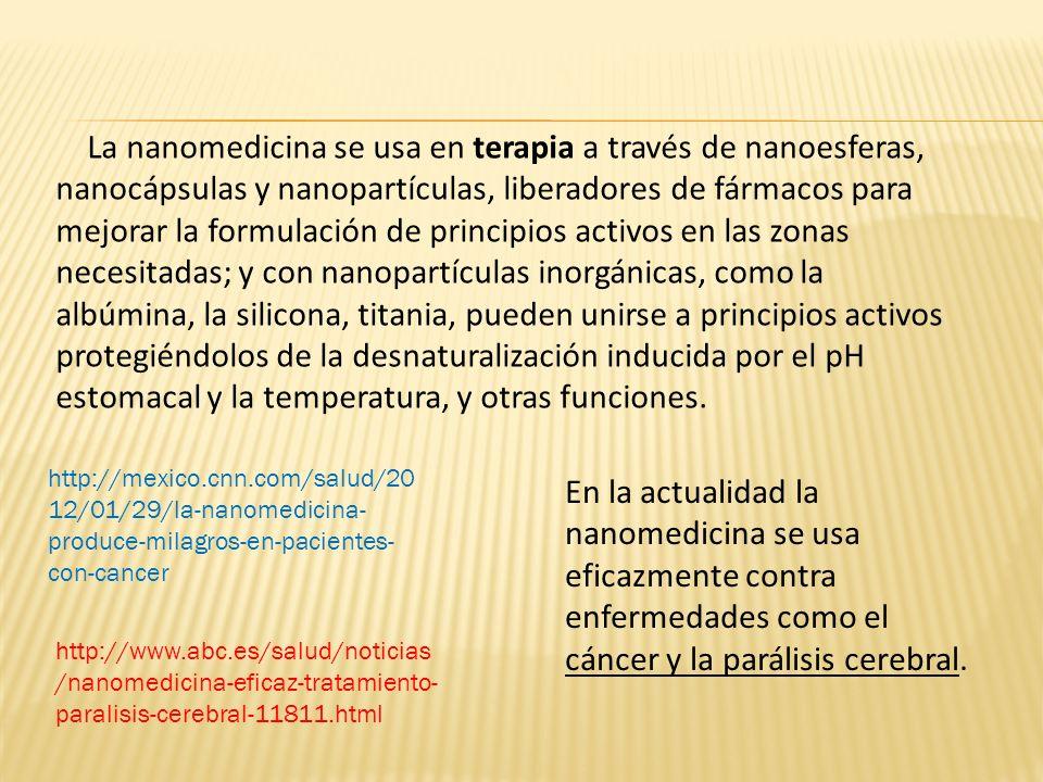 La nanomedicina se usa en terapia a través de nanoesferas, nanocápsulas y nanopartículas, liberadores de fármacos para mejorar la formulación de principios activos en las zonas necesitadas; y con nanopartículas inorgánicas, como la albúmina, la silicona, titania, pueden unirse a principios activos protegiéndolos de la desnaturalización inducida por el pH estomacal y la temperatura, y otras funciones.