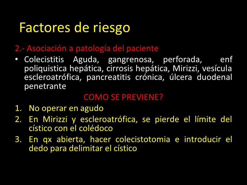 Factores de riesgo 2.- Asociación a patología del paciente