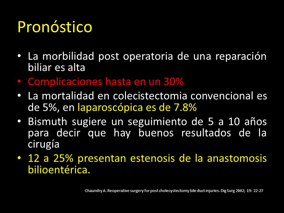 Pronóstico La morbilidad post operatoria de una reparación biliar es alta. Complicaciones hasta en un 30%