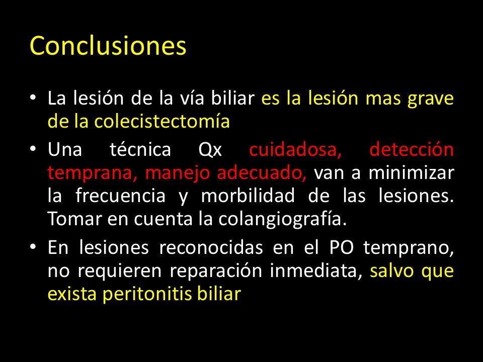 Conclusiones La lesión de la vía biliar es la lesión mas grave de la colecistectomía.