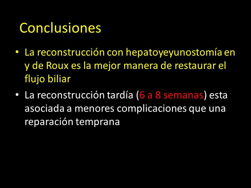 Conclusiones La reconstrucción con hepatoyeyunostomía en y de Roux es la mejor manera de restaurar el flujo biliar.