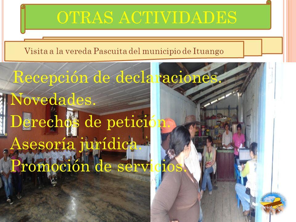 Visita a la vereda Pascuita del municipio de Ituango
