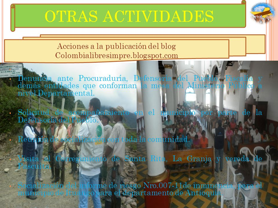 Acciones a la publicación del blog Colombialibresimpre.blogspot.com