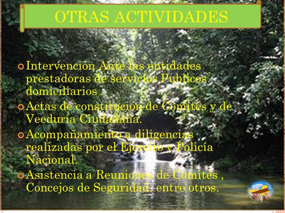 OTRAS ACTIVIDADES Intervención Ante las entidades prestadoras de servicios Publicos domiciliarios .