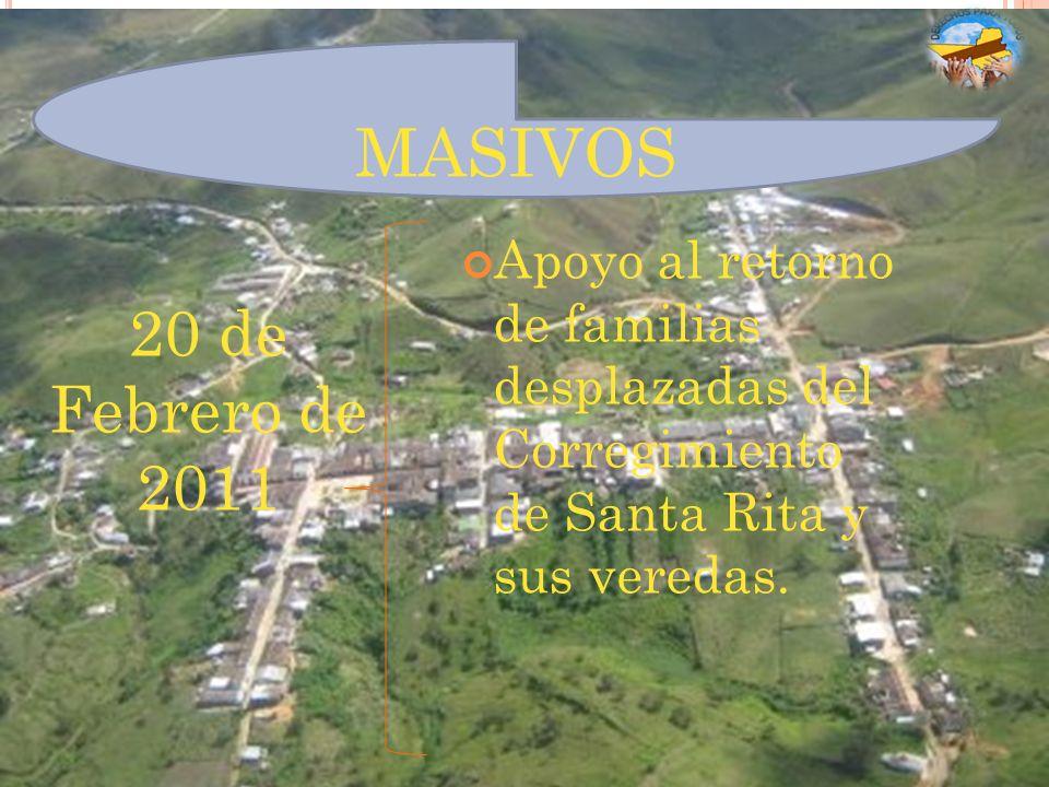 MASIVOS Apoyo al retorno de familias desplazadas del Corregimiento de Santa Rita y sus veredas.