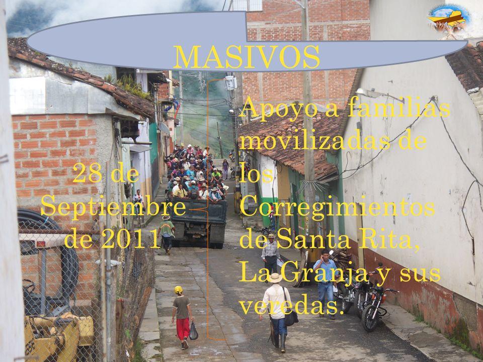 MASIVOS Apoyo a familias movilizadas de los Corregimientos de Santa Rita, La Granja y sus veredas.