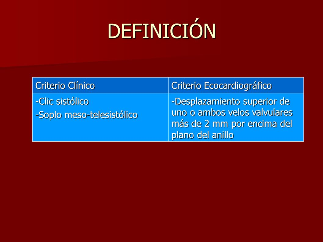 DEFINICIÓN Criterio Clínico Criterio Ecocardiográfico -Clic sistólico