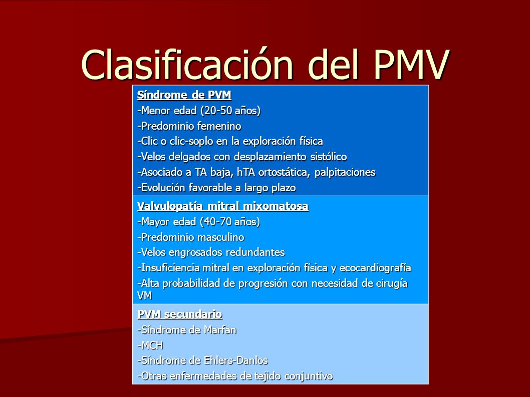Clasificación del PMV Síndrome de PVM -Menor edad (20-50 años)