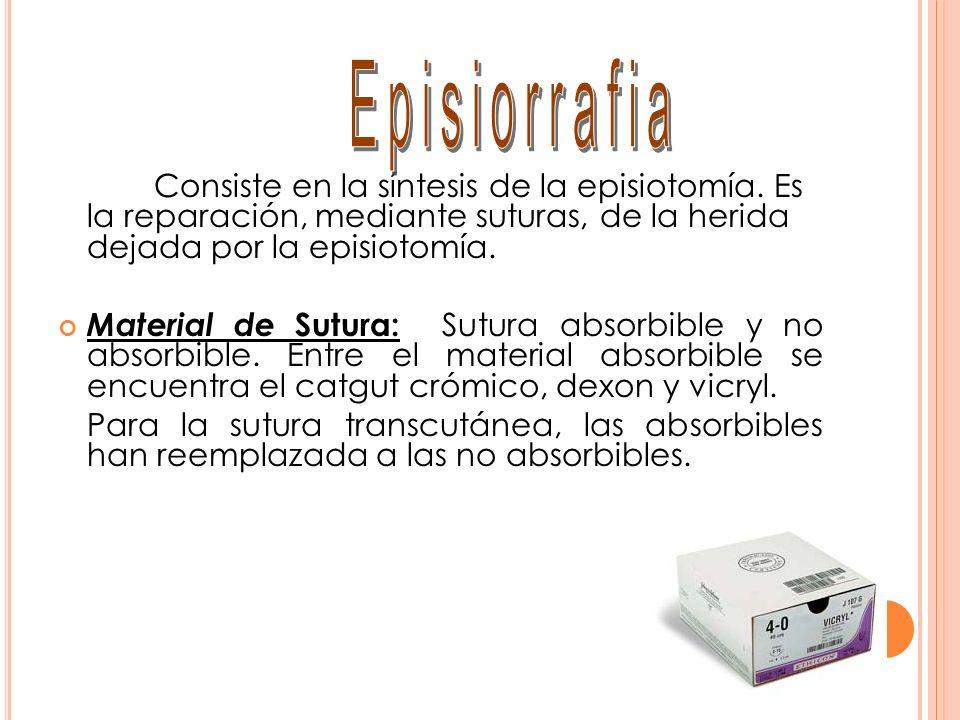 Episiorrafia Consiste en la síntesis de la episiotomía. Es la reparación, mediante suturas, de la herida dejada por la episiotomía.
