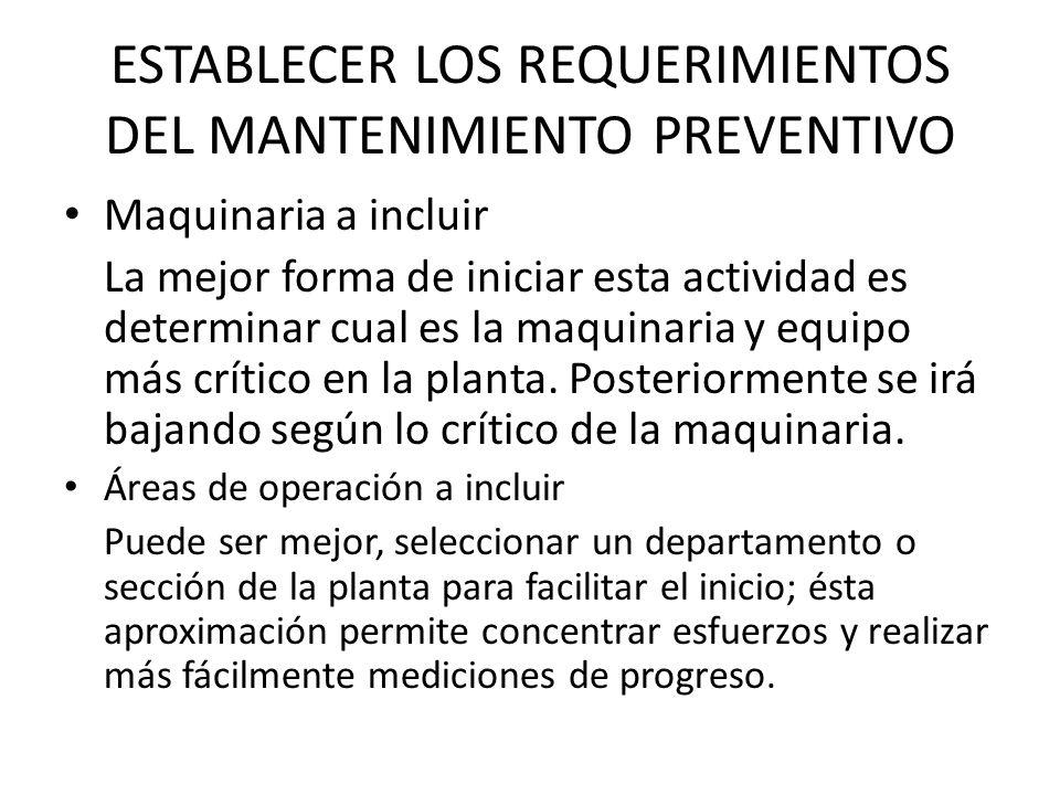 ESTABLECER LOS REQUERIMIENTOS DEL MANTENIMIENTO PREVENTIVO