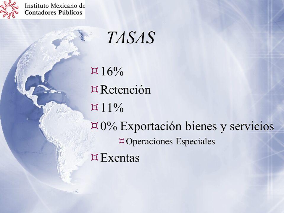 TASAS 16% Retención 11% 0% Exportación bienes y servicios Exentas