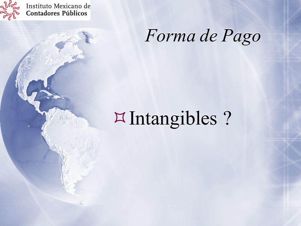 Forma de Pago Intangibles